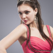 Caucasian Brunette woman With Tiara on Her Head. Woman in Pink E — Stock Photo #67547459
