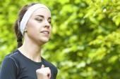 Sport Concept: Closeup of Positive Caucasian Fit Woman Having He — Stock Photo