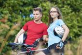 Two Young Caucasian Professional Cyclists Together with Their Bi — Stock Photo