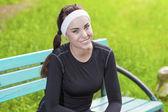 Closeup of Happy Smiling Caucasian Sportswoman in Fitness Joggin — Stock Photo