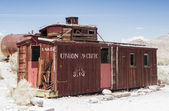 Rhyolite - United States, July, 9: Abandoned Ghost Old Railroad  — Stock Photo