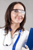 Medical Concept: Caucasian Medical Female Doctor With Stethoscop — Stock Photo