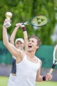 Tennis Sport Concepts: Happy Exclaiming Tennis Couple — Stock Photo