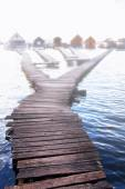 Chalets, cottages on the shore of a lake — Stock Photo