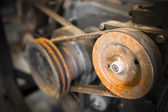 Rusty pulley belt, close up, detail — Stock Photo