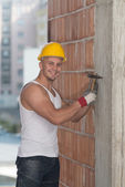 Construction Man Working With Hammer — Foto Stock