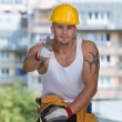 Happy Caucasian Construction Worker Giving Thumb Up — Stock Photo #52320023