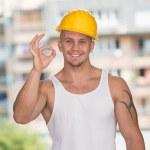 dělník s chrániči ok známek — Stock fotografie #52321029