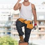 işçi koruyucu giysiler gösteren ok işareti ile — Stok fotoğraf #52321141