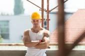 Construction Worker Taking A Break On The Job — Foto de Stock