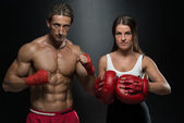 Man Instructor And Woman Training Mixed Martial Art — Stock Photo