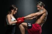 Woman Instructor And Man Training Mixed Martial Art — Stock Photo