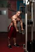 Healthy Young Man Doing Exercise For Triceps — Stock Photo
