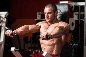 Bodybuilder Doing Exercise For Chest — Stock Photo