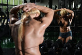Woman Bodybuilder Showing Abs — Stock Photo