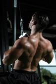 Young Man Doing Heavy Weight Exercise For Back — Stock Photo