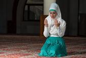 Muslim Woman Praying In Mosque — Stock Photo
