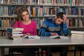 Portrait Of A Student Couple Studying At Library — Stock Photo
