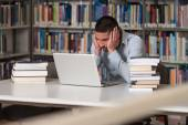 Male College Student Stressed About His Homework — Stock Photo