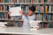 Frustrated Student Throwing His Laptop — Stock Photo