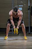Bodybuilder Doing Exercise For Back — Stock Photo