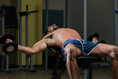 Fit Athlete Doing Exercise For Chest — Stock Photo