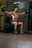 Fit Athlete Doing Exercise For Shoulder — Stock Photo