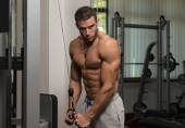 Muscular Man Doing Heavy Weight Exercise For Triceps — Stok fotoğraf