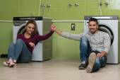 Couples Waiting For The Washing — Stock Photo
