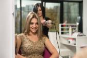 Woman Hairdresser Do Hairstyle Girl In Beauty Salon — Stock Photo