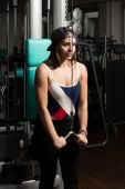 Young Woman Exercising Triceps — Stock Photo