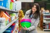 Woman Shopping In Supermarket — Stock Photo
