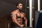 Bodybuilder Doing Exercise For Triceps — Stock Photo