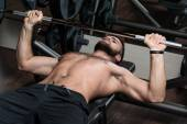 Handsome Man Doing Heavy Weight Exercise For Chest — Stock Photo