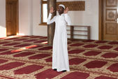 African Muslim Man Is Praying In The Mosque — Stock Photo