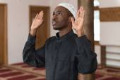 African Muslim Praying In Mosque — Stock Photo