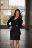 Fashion Model Wearing Black Dress — Stock Photo