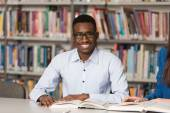 Portrait Of Clever Black Student With Open Book — Stock Photo