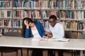 Tired Student Sleeping In Library — Stock Photo