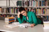 Female College Student Stressed About Her Homework — Stock Photo