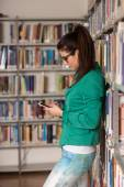 College Student Woman Using Mobile Phone — Stock Photo