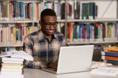 Young Student Using His Laptop In A Library — Stock Photo
