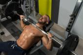 Young Man Working Out Chest — Stock Photo