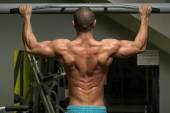 Male Athlete Doing Pull Ups — Stock Photo