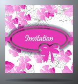 Wedding invitation card with floral elements.Ornamental greeting card. — Stock vektor