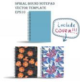Spiral bound notepads set — Stock Vector