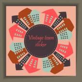 Città del vintage sticker — Vettoriale Stock