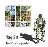 Camouflage set, fabric patterns — Stock Vector