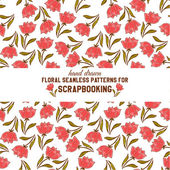 Seamless pattern with red flowers — Stock Vector