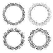 Set of round decorative frames — Stock Vector